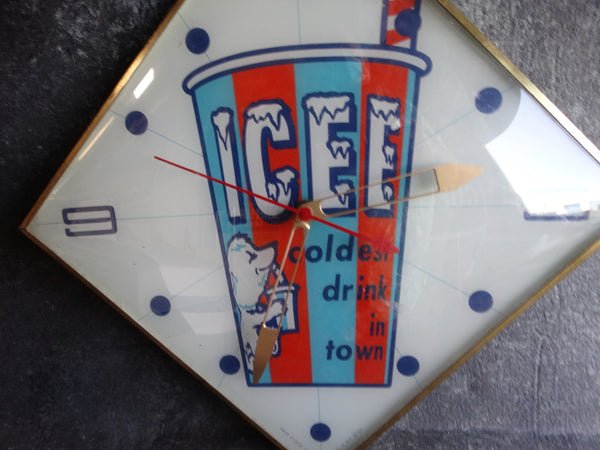 Pam Company Ice Cold Drink Advertising Clock circa 1963 A2380