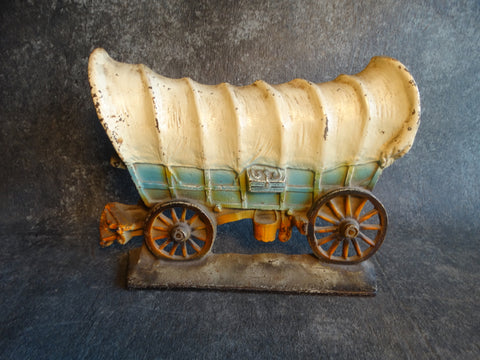Covered Wagon Doorstop - Painted Cast Iron circa 1930s A2381