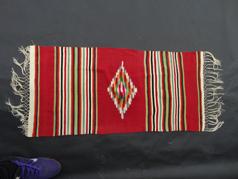 Red Tabletop Serape circa 1930s A2416