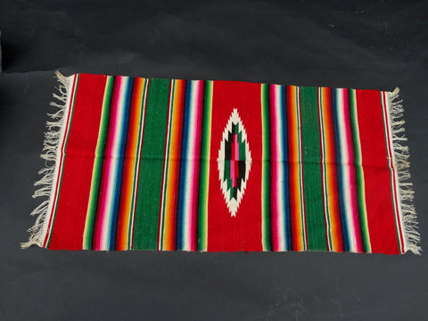Red & Green Tabletop Serape circa 1940s A2418