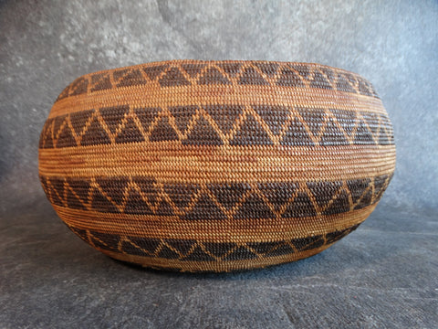 California Yokuts Five Band Snake Basket circa 1920 A2437