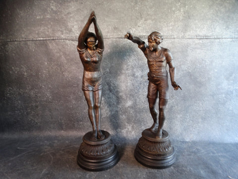 The Diving Lesson -  A Pair of early 1900s White-Metal Figures A2439