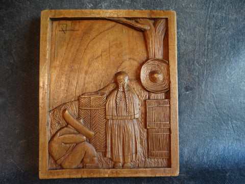 Mexican Wood Carving in Low Relief - Market Scene c 1930s A2443