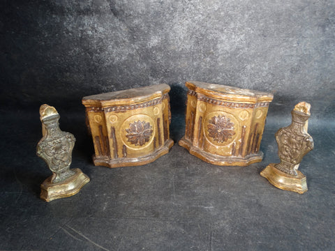 Pair of 19th Century Mediterranean Niches or Wall Shelves with Decorative Urns A2536