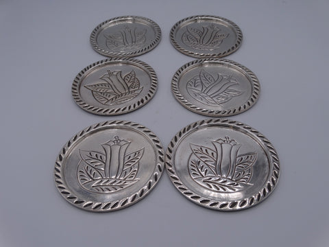 Sanborns Set of 6 Silver Coasters - A2539