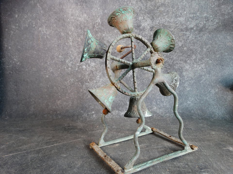 Bronze Bells Wheel on Table Stand 1920s A2579