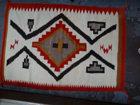 Navajo Rug in Red, Grey, Orange, Cream