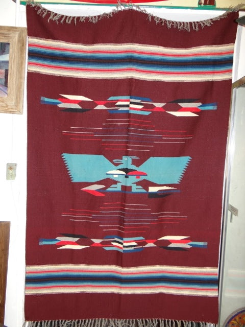 Vintage Chimayo – Burgundy Pictorial Weaving with Large Turquoise Eagle