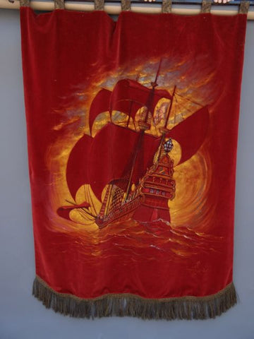 Post navigation ← Previous Next → Harry F. Slater Galleon Painted on a Velvet Banner/Curtain 1920s