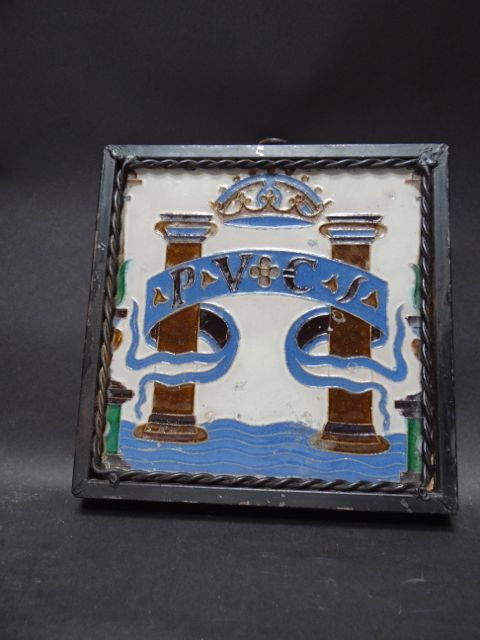 Spanish Royal Coat of Arms Tile in Wrought Iron Surround
