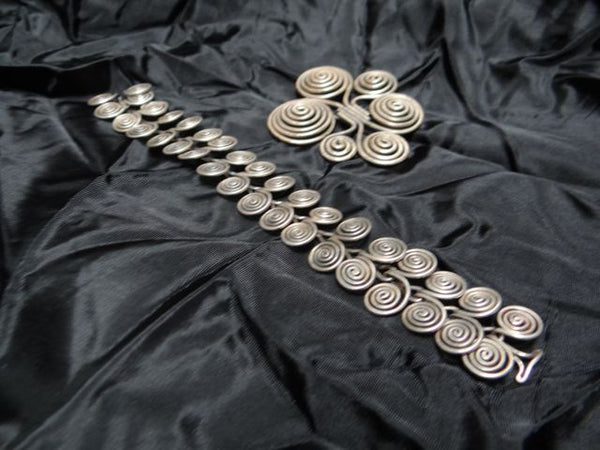 Sterling Silver Hand Coiled Bracelet and Brooch 1940s