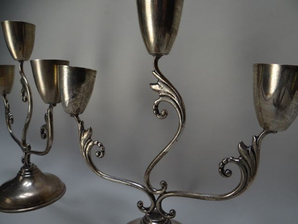 Juventino López Reyes Mexican Silver Three Light Candelabra Pair