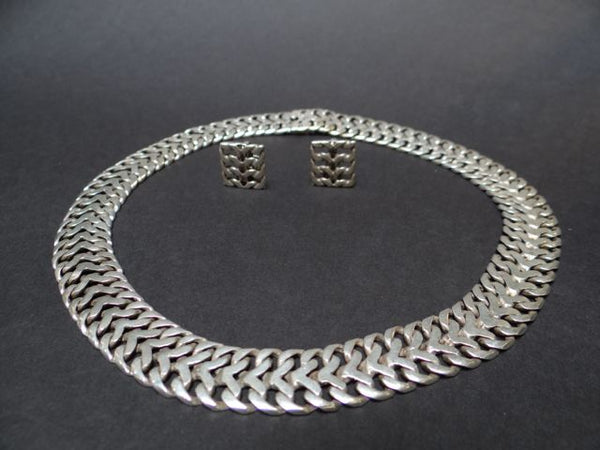 Mexican Sterling Chain Mail Silver Choker w. Matching Earrings