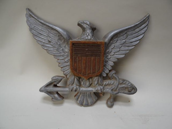 Cast Aluminum and Wood Naval Eagle Shield Insignia