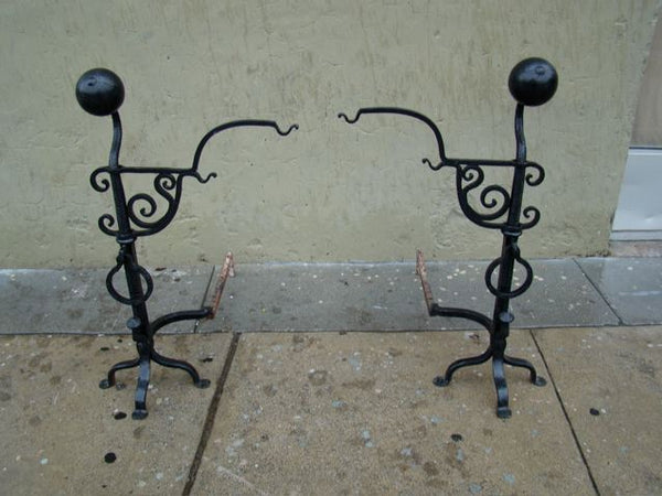 Wrought Iron Andirons with a Spider Web Motif
