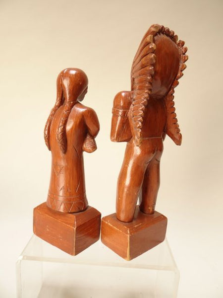 Pair of Folk Art Wooden Figures of Plains Indian Brave and Squaw by A. Laurent