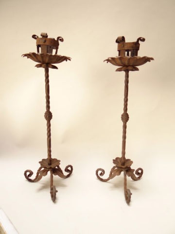 Spanish Revival Wrought Iron Candlesticks Pair