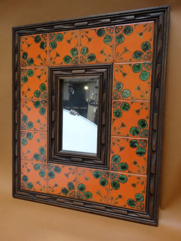 1960s Wood and Tile Mirror