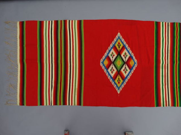 "Mexican ""New Mexican"" Serape Textile ""Red with Blue Diamond"""