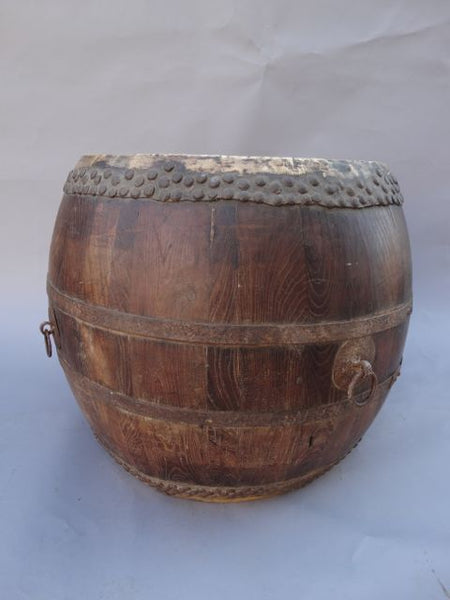 Antique Taiko Wooden Drum 19th Century
