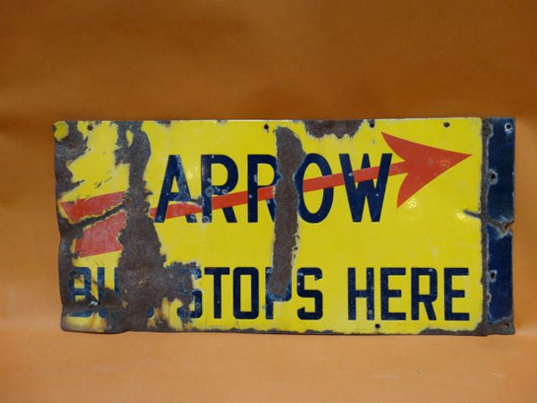 Arrow Bus Stops Here Metal Sign
