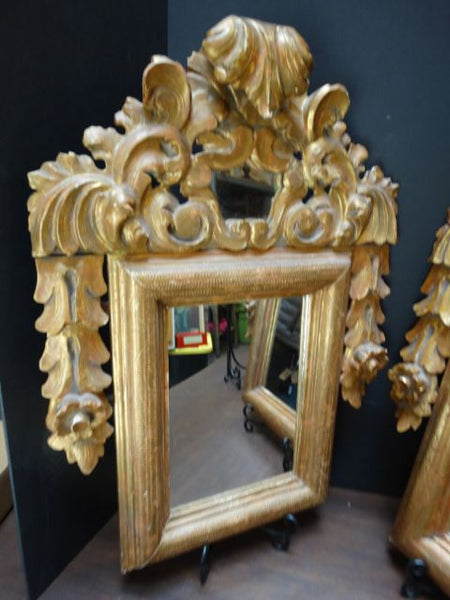 Spanish Colonial Carved and Gilded Mirror Pair