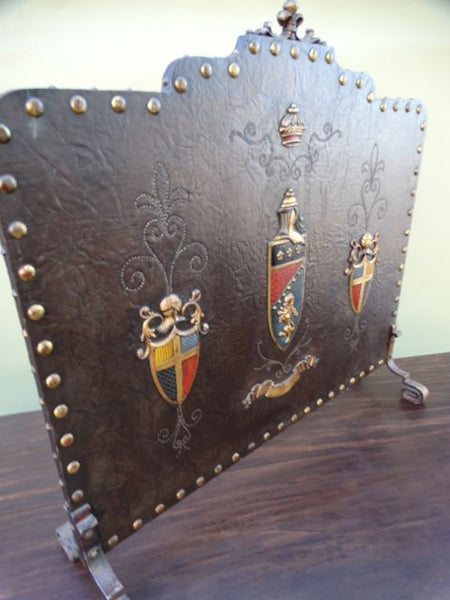 Spanish Revival Summer Fireplace Screen in Leather and Brass
