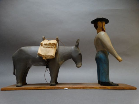 Carved Wooden Prospector and Pack Mule 1940s Folk Art Sculpture