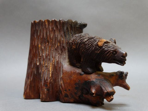 Folk Art Hand Carved Bear Redwood Receptacle Circa 1930