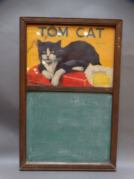 Tom Cat Lemon Crate Label Home-Made Chalk-board