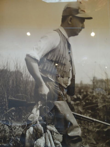 Black and White Large Vintage Photograph of a Duck Hunter
