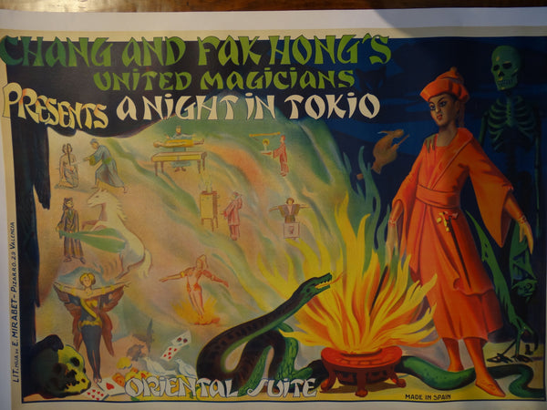 Chang and Fak Hong's United Magicians presents a Night in Tokio -- Snake Charmer Vintage Original Poster on Linen