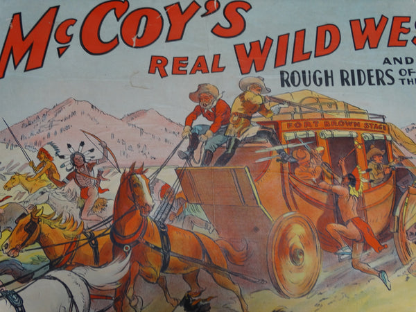 Vintage Tim McCoy's Real Wild West Poster - framed