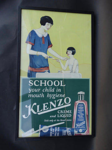 Mother Daughter Klenzo Dentifrice Poster 1920s - School Your Child In Mouth Hygiene