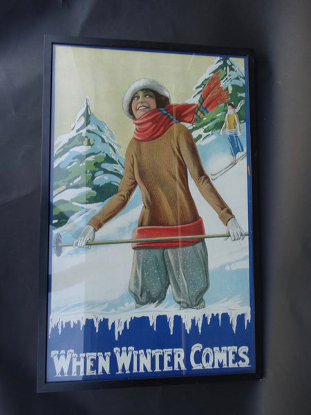 When Winter Comes Ski Poster c 1920