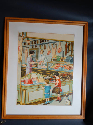 Butcher Shop Litho Advertising or Educational Poster c 1926-7