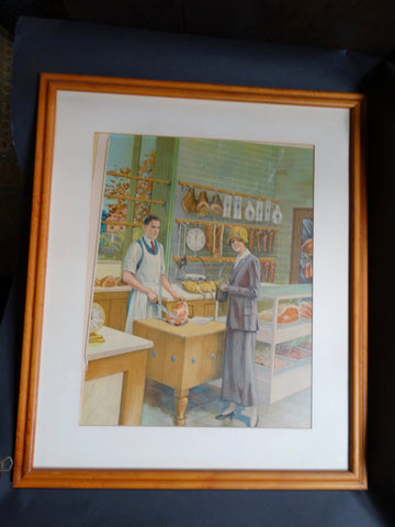 At The Butcher's - Litho Advertising or Educational Poster c 1926-7