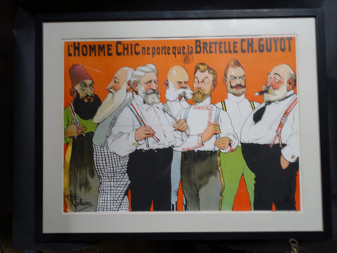 Albert Guillaume - Advertisement for Charles Guyot Suspenders - Lithographic Poster1906