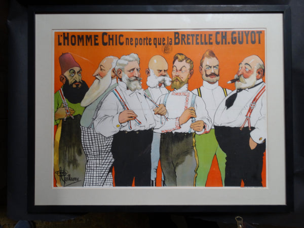 Albert Guillaume - Advertisement for Charles Guyot Suspenders - Lithographic Poster 1906 AP1205
