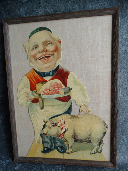 Pork Butcher Stone Litho Store Display Cut-out Figure c 1900