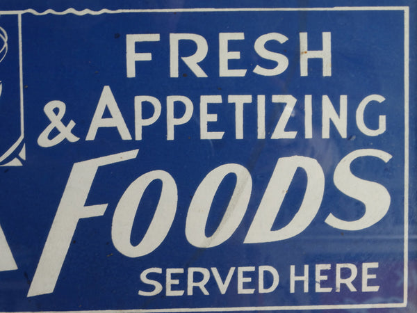 Vintage Restaurant Sign- Fresh and Appetizing SEA FOODS Served Here -