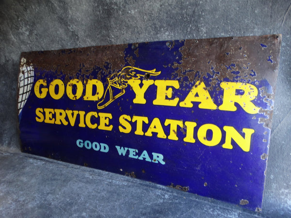 Goodyear Service Station Porcelain Enamel Sign 1920s AP1229
