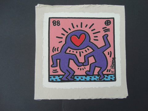 Keith Haring Original Canvas lnvitation to the Wedding of Dr Winkie (complete kit) - AP1233