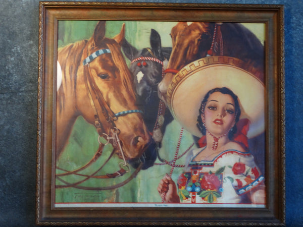 Mexican Calendar Art - My Three Friends (Mis Tres Amigos) 1930s AP1244