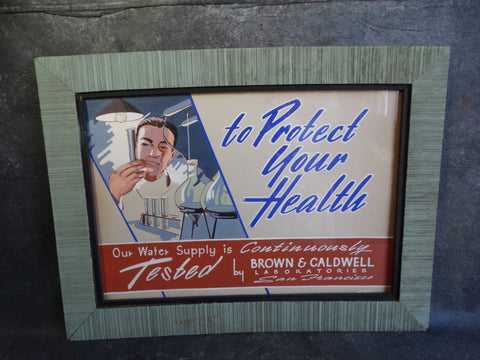 Hand-Lettered and Hand-Painted Sign 1950s for Brown & Caldwell Laboratories AP1250