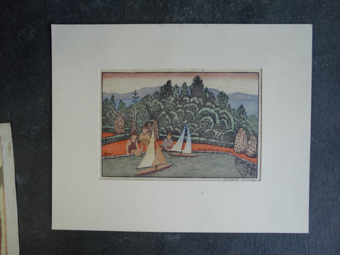 Anders Aldrin- The Boat Race - Block Print  circa 1930s AP1268