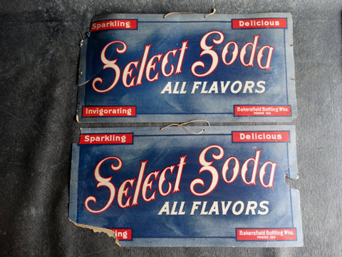 Pair of Select Soda All Flavors Grocery Window Signs circa 1915 AP1272