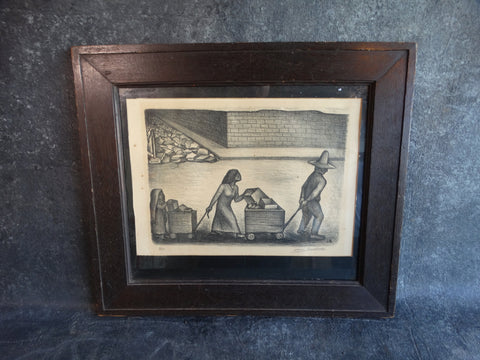 Mexican Family Hauling Their Belongings - Jesus Escobedo -Lithograph AP1303