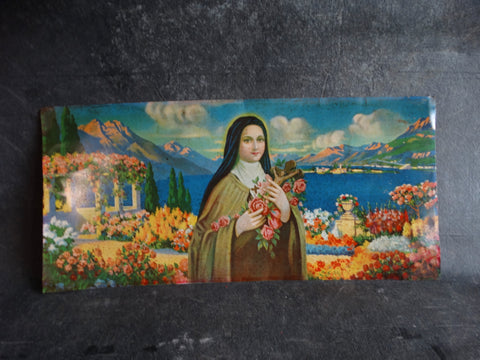 Mexican Tin Litho Sign - Virgin Mary in Paradise Vista AP1320