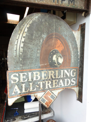 Sieberling All Threads Tire Sign c 1920s AP1321
